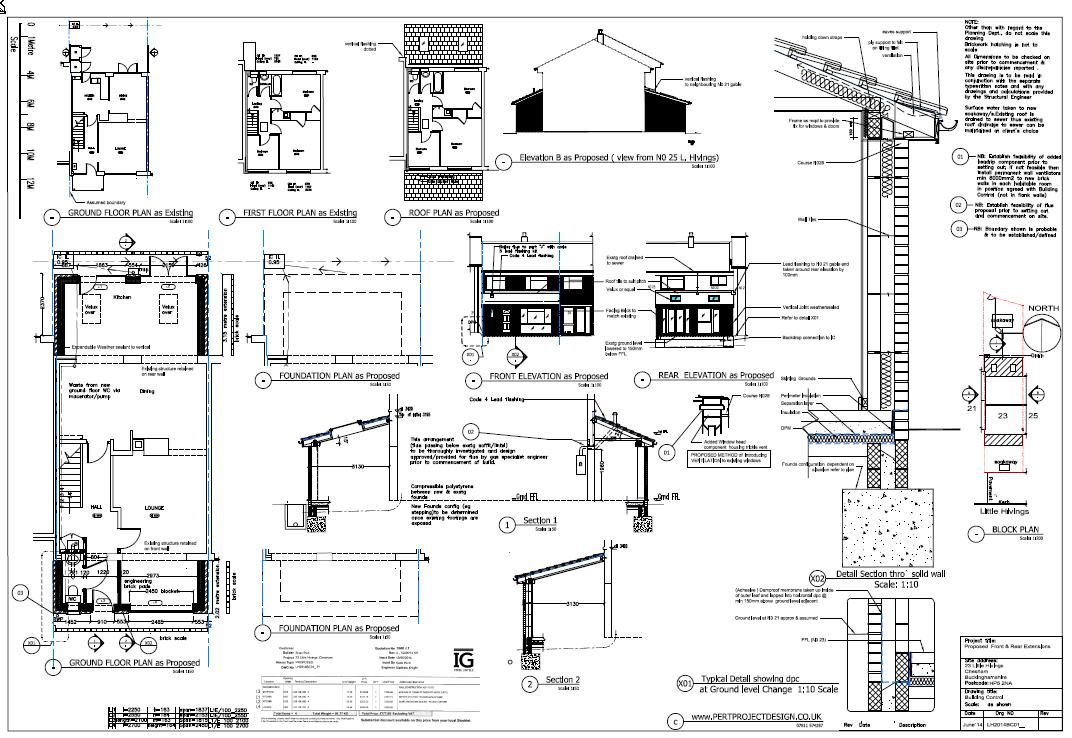 single storey monopitch BC extension drawing